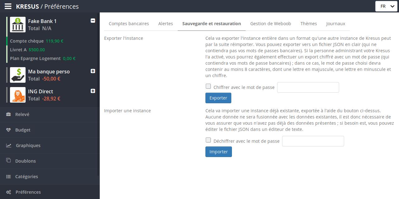 Capture d'écran de l'export chiffré de Kresus