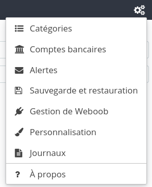 Capture d'écran du menu de préférences