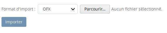 Capture d'écran du formulaire d'import